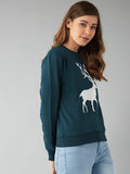 Full Sleeve Green Printed Sweatshirt