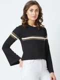 Black Colour Bell Sleeve Top