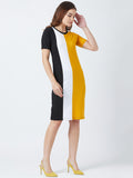 Round Neck Colourblocked Short Sleeve Dress