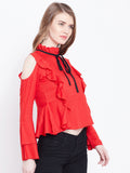 Women's Rayon Red High Neck Full sleeve Top