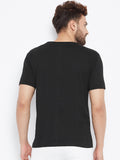 Cotton Black Printed Half sleeves Tshirt