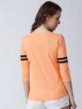 Women's Cotton  Peach coloured printed Full sleeves Tshirt