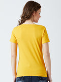 Women's Cotton Yellow Printed Short sleeves Tshirt