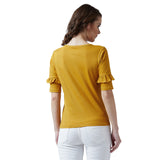 Women's Cotton Yellow Colour Printed 3/4 th Sleeve Top