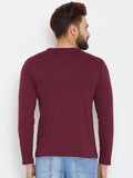 Men's Cotton Burgundy colour Solid Full  sleeves Tshirt