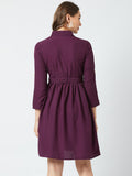 Purple Colour Crepe Dress