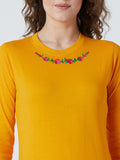 Women's Cotton Yellow Colour Embrodrised Full  Sleeve Top