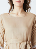 Women's Rayon Solid Cream Coloured 3/4 th Sleeve  Top