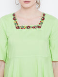 Women's Cotton Green Round  Neck Half sleeve Top