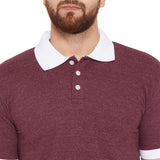 Cotton Burgundy Solid Half sleeves Tshirt