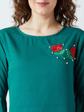 Women's Crape Green Colored Embrodrised Bell Sleeve Top