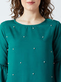 Women's Crape Green Colored  Pearled Bell Sleeve Top