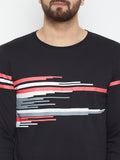 Black Coloured Full Sleeve Printed T-shirt