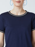Women's Cotton Blue Solid Short  sleeves Tshirt