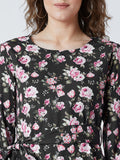 Women's  Crepe Black  Colour Floral Full  Sleeve Top