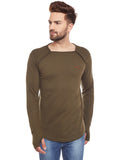 Men's Cotton Green  colour Solid   Full  Sleeve T-shirt