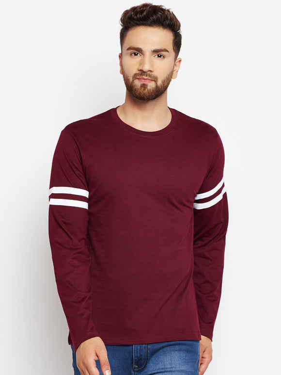 Men's Cotton Burgandy  colour Solid Striped  Full  Sleeve T-shirt