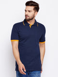 Cotton Navy Blue Solid Half sleeves Tshirt