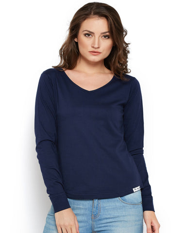 Women's Cotton Navy Blue Solid Full sleeves Tshirt