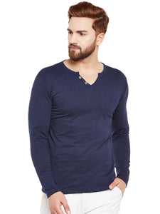 Men's Cotton Nevy Blue   colour Solid    Full  Sleeve T-shirt