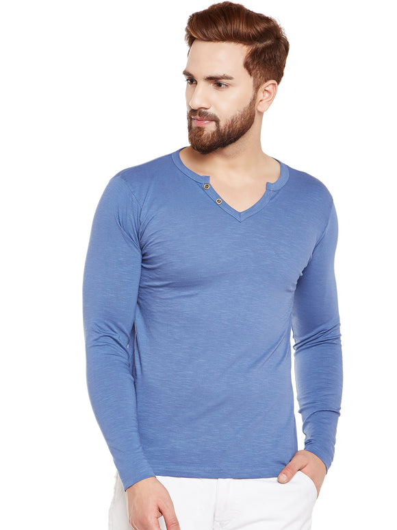 Blue coloured Solid Full Sleeve T-shirt