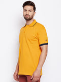 Cotton Yellow Solid sleeves Tshirt