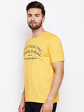 Men's Cotton Yellow colour Printed Short Sleeve T-shirt