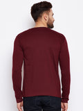 Men's Cotton Burgandy colour Solid   Full  Sleeve T-shirt