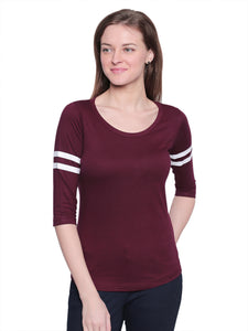 Women's Cotton burgundy Solid 3/4 sleeves Tshirt