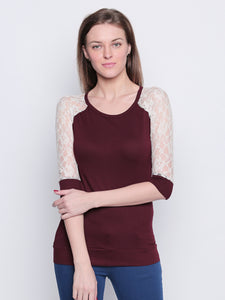 Women's Cotton Maroon 3/4 Sleeve Top