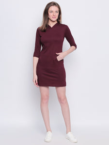 Hooded Burgandy 3/4th Sleeve Dress