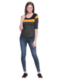 Women's Cotton Multicolour  Colour Block 3/4 sleeves Tshirt