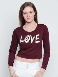 "Women's Cotton Burgundy Printed ""LOVE"" Full Sleeves Cropped Top"
