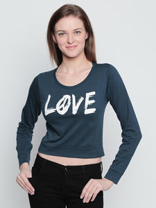 "Women's Cotton Petrol Green Printed ""LOVE"" Full Sleeves Cropped Top"