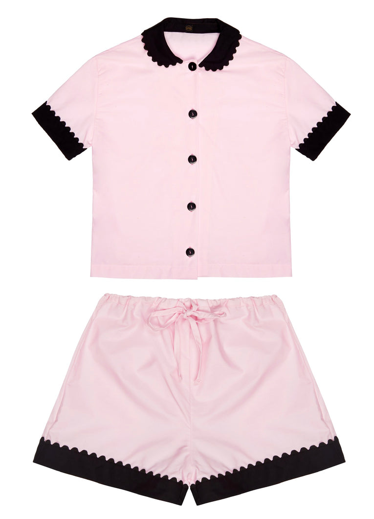 100% Cotton Poplin Pyjamas in Pink with Black Contrasting Collar and Cuffs with Ric Rac Trim