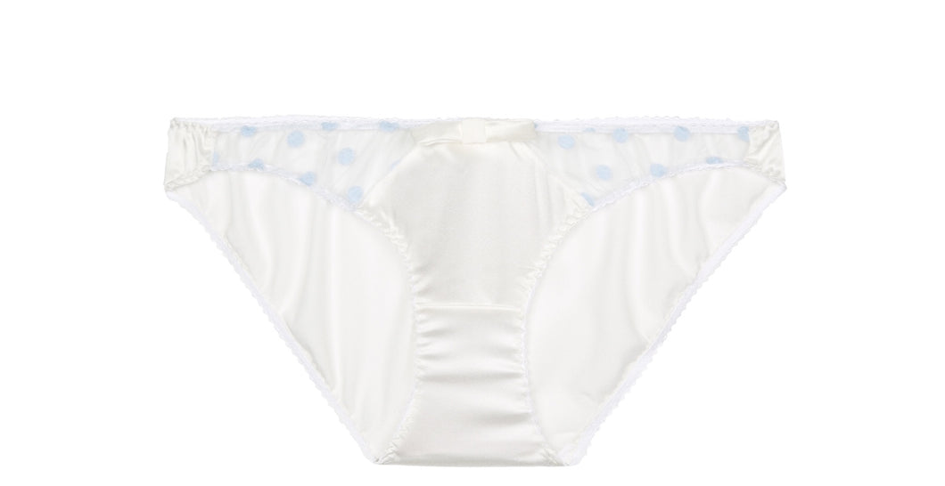 White Stretch Silk with Blue Polka Dot Tulle Briefs