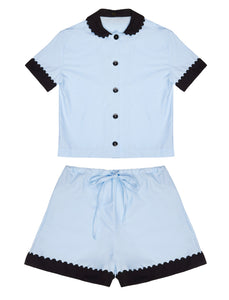 100% Cotton Poplin Pyjamas in Blue with Black Contrasting Collar and Cuffs with Ric Rac Trim