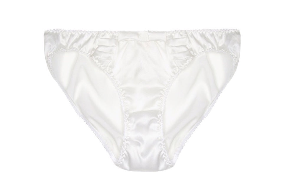 White Silk Satin Pleated Briefs