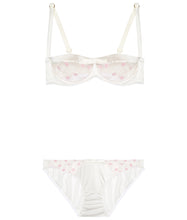 Load image into Gallery viewer, White Stretch Silk with Pink Polka Dot Tulle Balconette Bra