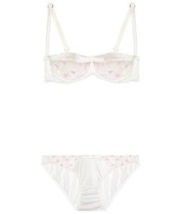 White Stretch Silk with Pink Polka Dot Tulle Balconette Bra