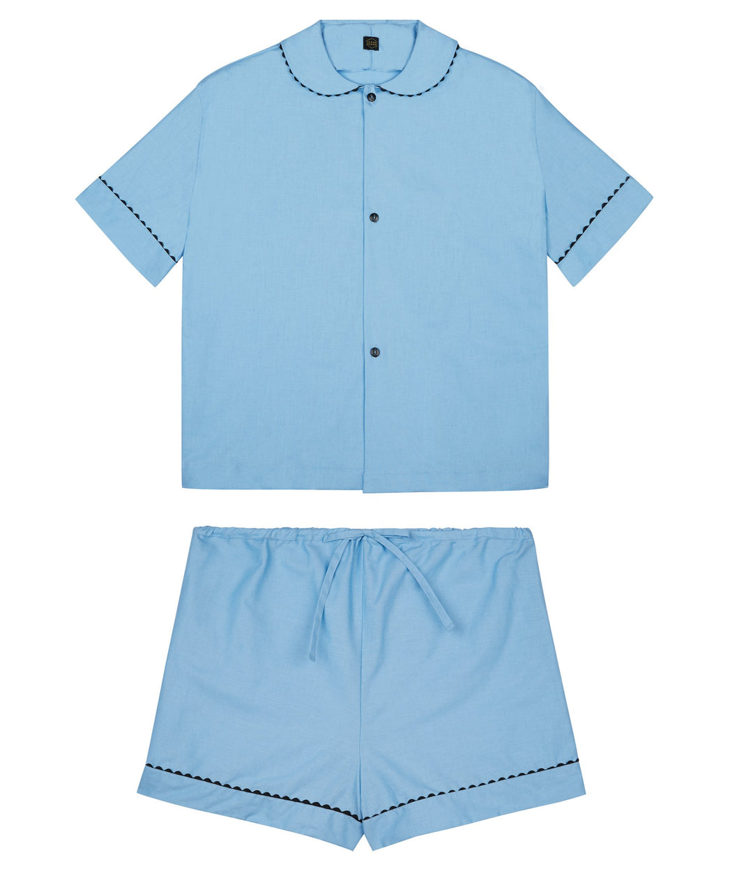 100% Cotton Poplin Pyjamas in Pastel Blue with Black Contrasting Ricrac Trim