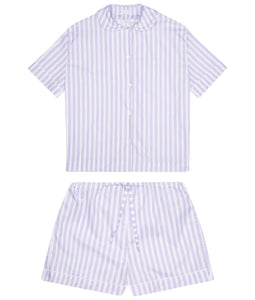 100% Cotton Poplin Lilac and White Stripe Pyjamas with White Ric Rac Trim