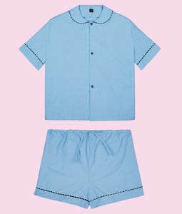 100% Cotton Poplin Pyjamas in Pastel Blue with Black Contrasting Ric Rac Trim