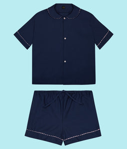 100% Cotton Poplin Pyjamas in Navy with Pink Contrasting Ric Rac Trim
