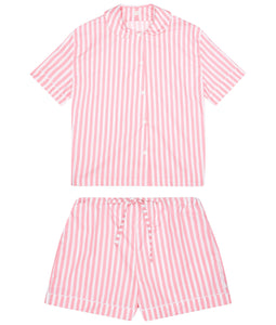 100% Cotton Poplin Pink and White Stripe Pyjamas with White Ricrac Trim
