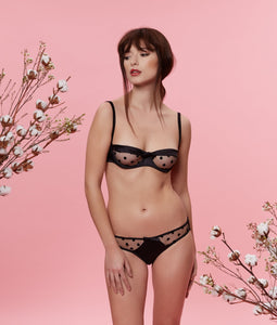 Sarah Brown London Black Stretch-Silk Tulle Balconette Bra Lingerie Set