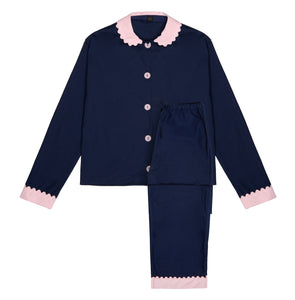 100% Cotton Poplin Navy Long Pyjamas with Pink Collar and Cuffs with Ric Rac Trim