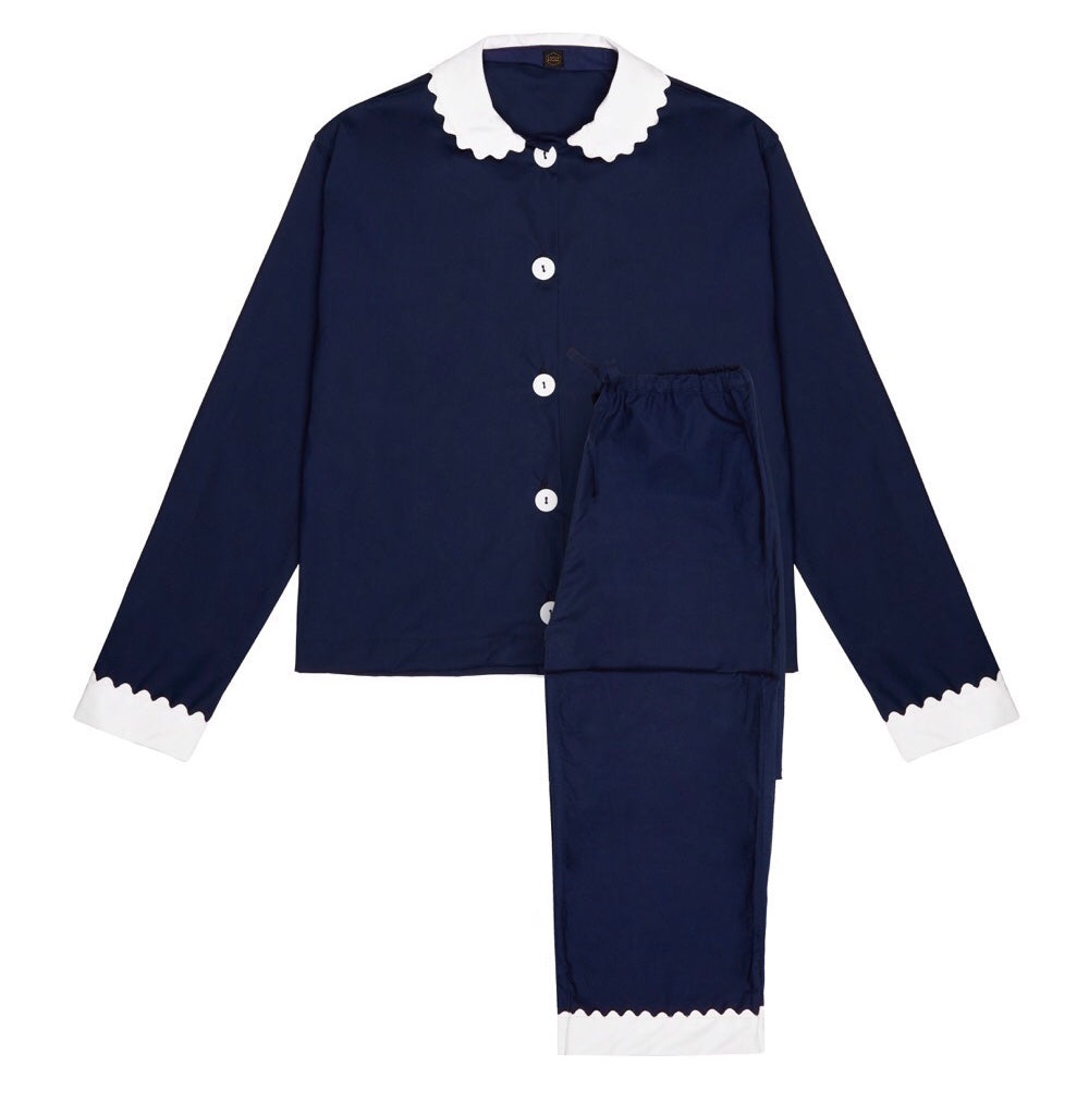 100% Cotton Poplin Navy Long Pyjamas with White Collar and Cuffs with Ric Rac Trim