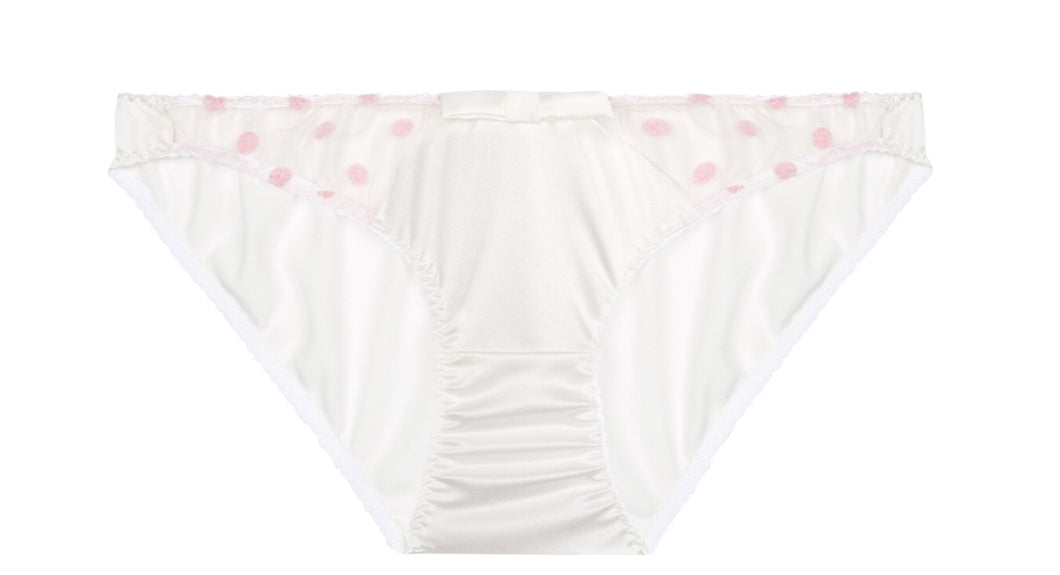 White Stretch Silk with Pink Polka Dot Tulle Briefs