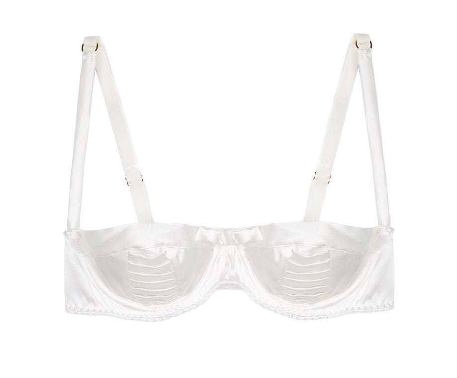 White Silk Satin Pleated Balconette Bra